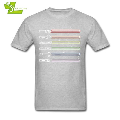 Rainbow Light Saber T-Shirt Gray / XS - Equally Younique LGBTQ Shop