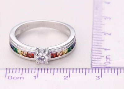 Sterling Silver Rainbow Ring  - Equally Younique LGBTQ Shop