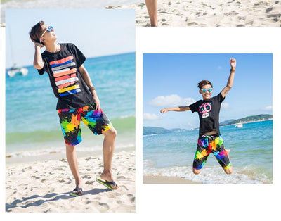 Rainbow Painted Beach Shorts  - Equally Younique LGBTQ Shop