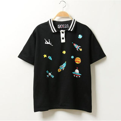 Cute Cartoon Space T-Shirt Black / One Size - Equally Younique LGBTQ Shop