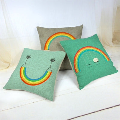 Rainbow Cotton Linen Pillow  - Equally Younique LGBTQ Shop