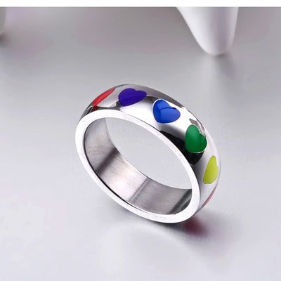 High Quality Titanium Steel Rainbow Heart Ring  - Equally Younique LGBTQ Shop