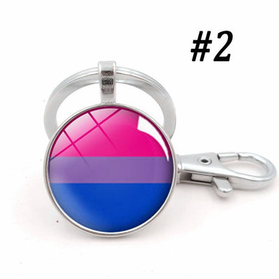 LGBTQ+ Glass Dome Metal Key Chain Silver-2 - Equally Younique LGBTQ Shop