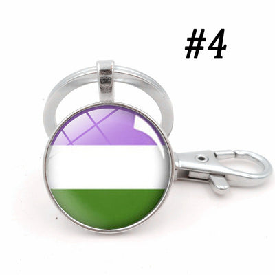 LGBTQ+ Glass Dome Metal Key Chain Silver-4 - Equally Younique LGBTQ Shop