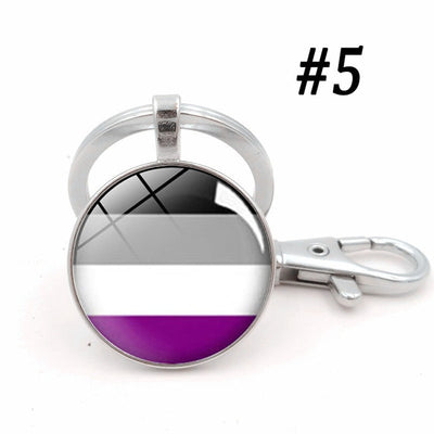LGBTQ+ Glass Dome Metal Key Chain Silver-5 - Equally Younique LGBTQ Shop