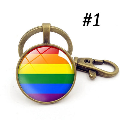 LGBTQ+ Glass Dome Metal Key Chain Bronze-1 - Equally Younique LGBTQ Shop