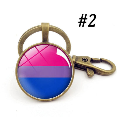 LGBTQ+ Glass Dome Metal Key Chain Bronze-2 - Equally Younique LGBTQ Shop