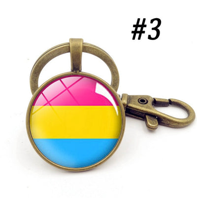 LGBTQ+ Glass Dome Metal Key Chain Bronze-3 - Equally Younique LGBTQ Shop