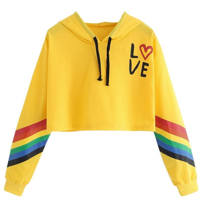 Love Rainbow Cropped Pullover Yellow / L - Equally Younique LGBTQ Shop