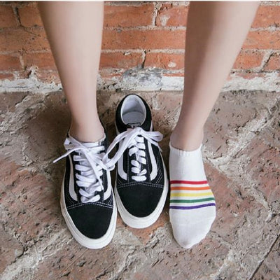 Low Ankle Striped Rainbow Socks  - Equally Younique LGBTQ Shop