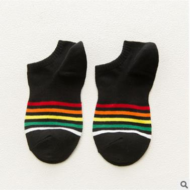 Low Ankle Striped Rainbow Socks Black - Equally Younique LGBTQ Shop