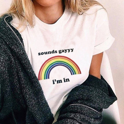 Sounds Gay Casual T-Shirt White / L - Equally Younique LGBTQ Shop
