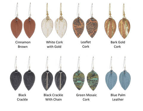 Leaf - Small - Cork or Leather - 8 Choices