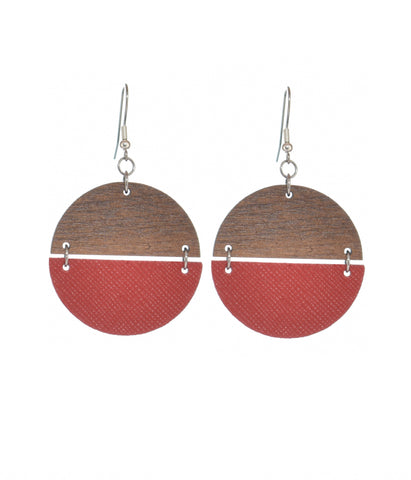 Half & Half -  Wood & Blood Red Leather