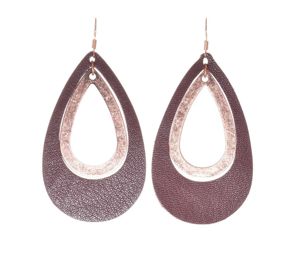 'CopperHead' Mahagony & Copper Leather Teardrop Earrings