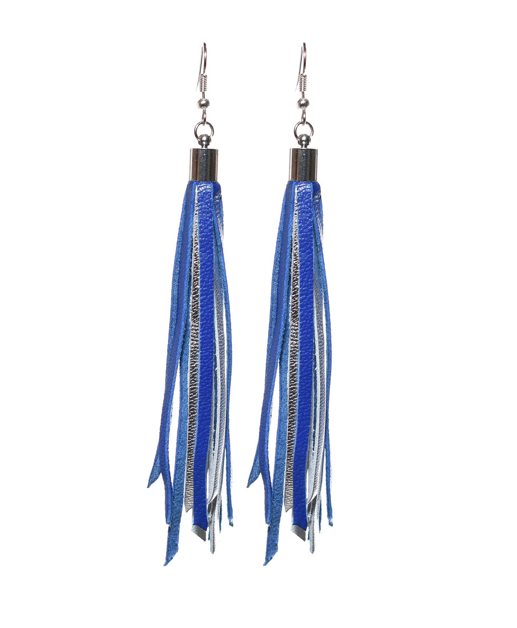 'Blue & Silver Tassel' Genuine Leather Dangle Earrings
