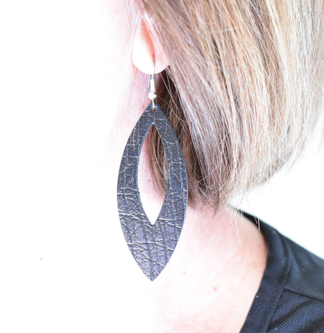 'Skurfer' Black Crackle - Genuine Leather Dangle Earrings
