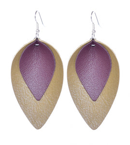 Sage Leather Leaf Earrings from our Aspen Line