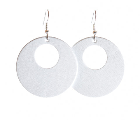"'White Infinity' 1.5"" Genuine Leather - Round Dangle Earrings"