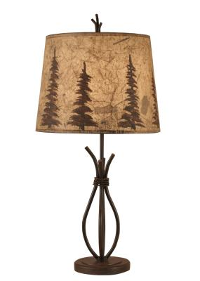 Rust Streaked Iron Stack Accent Lamp w/ Feather Tree Shade
