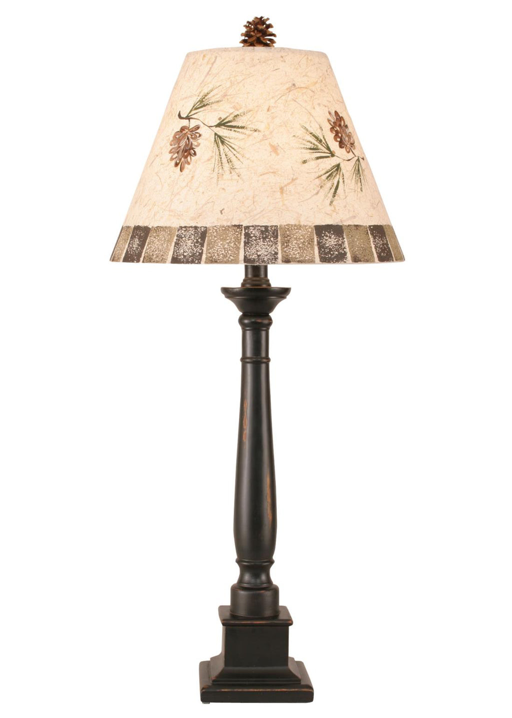 Distressed Black Square Candlestick Table Lamp w/ Pine Cone Shade