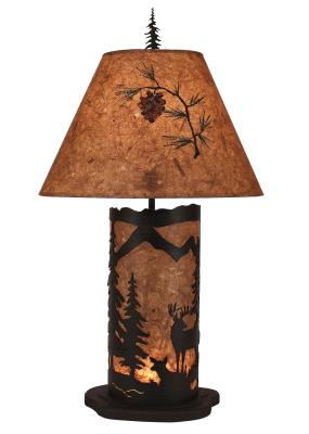Kodiak Small Deer Scene Table Lamp w/ Night Light