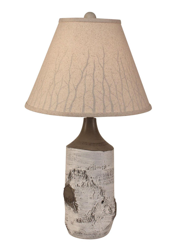Birch Table Lamp with Branch Silhouette Shade