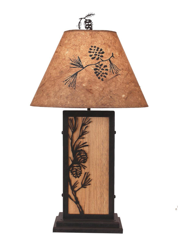 Pine Branch Iron/Wood Table Lamp