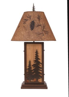 Feather Tree Iron/Wood Table Lamp