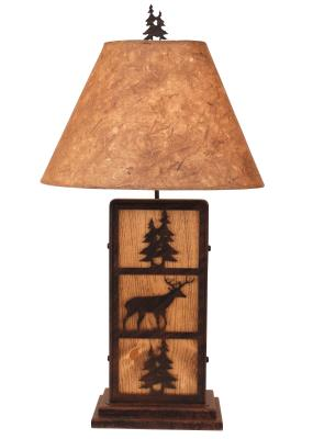Burnt Sienna Deer and Tree Iron/Wood Table Lamp - Pine Tree Shade