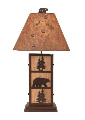Bear and Tree Iron/Wood Table Lamp