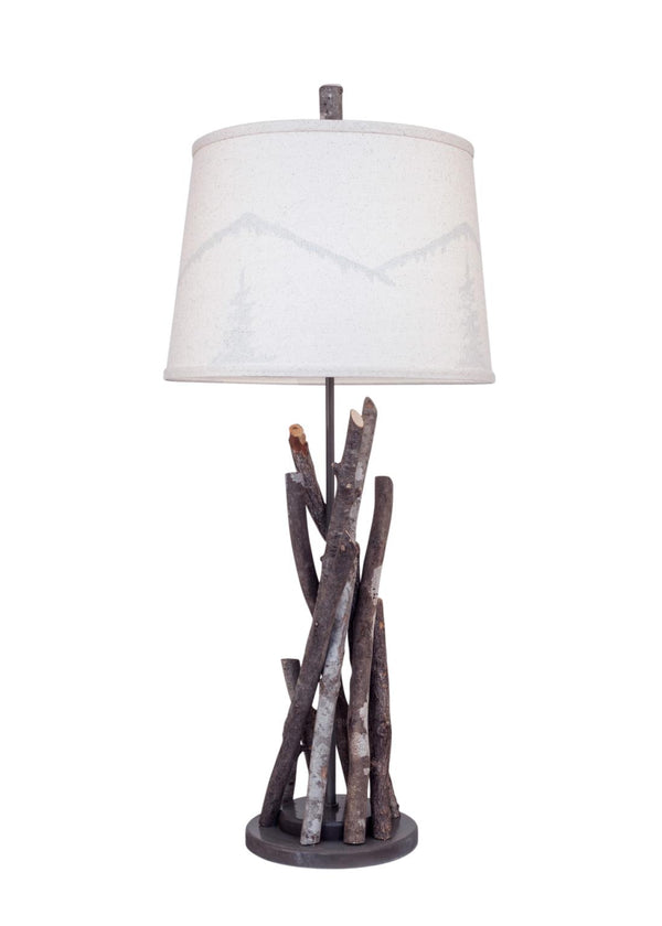 Grey Glaze Bundle of Sticks Table Lamp with Mountain Scene Shade