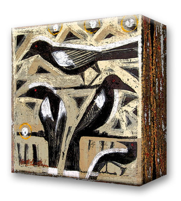 Black Birds:  Metal 18x18 Inches