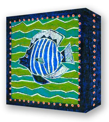 Blue and White Angel Fish:  Metal 18x18 Inches