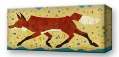 """Happy Go Lucky"" Red Fox:  Metal 17x44 Inches"