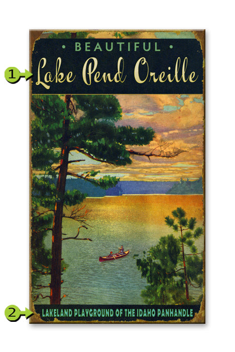 "Customizable Vintage Sign ""Lake Scene at Sunset"""