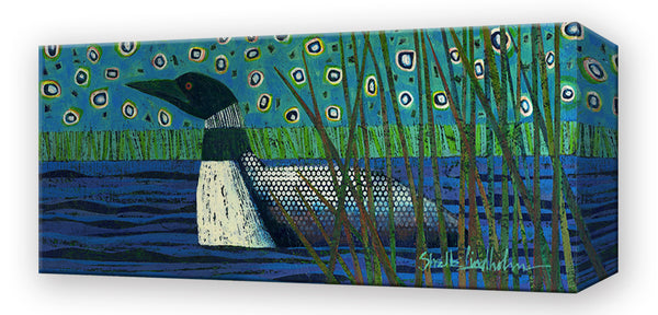 Lone Loon on a Lake:  Metal 42x16.5 Inches