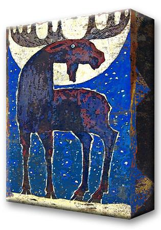 Moon Struck Moose:  Metal 18x26 Inches