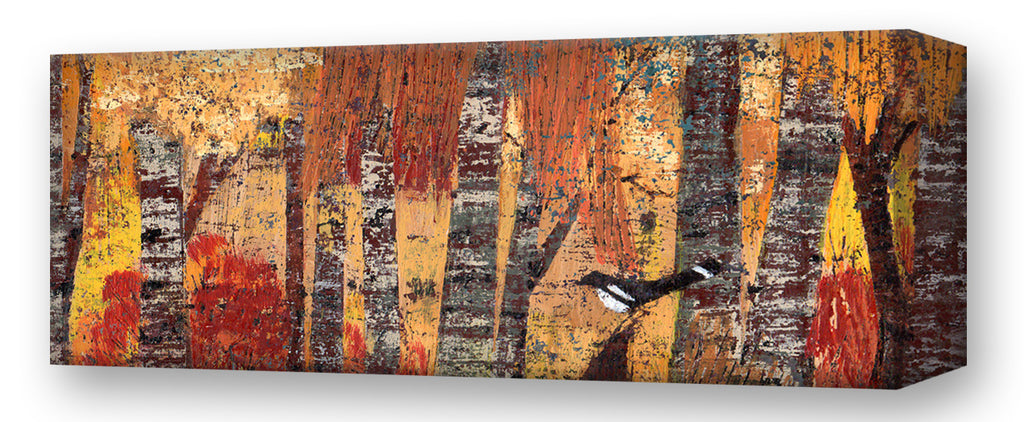 October West Trees, Magpie:  Metal 42x16.5 Inches