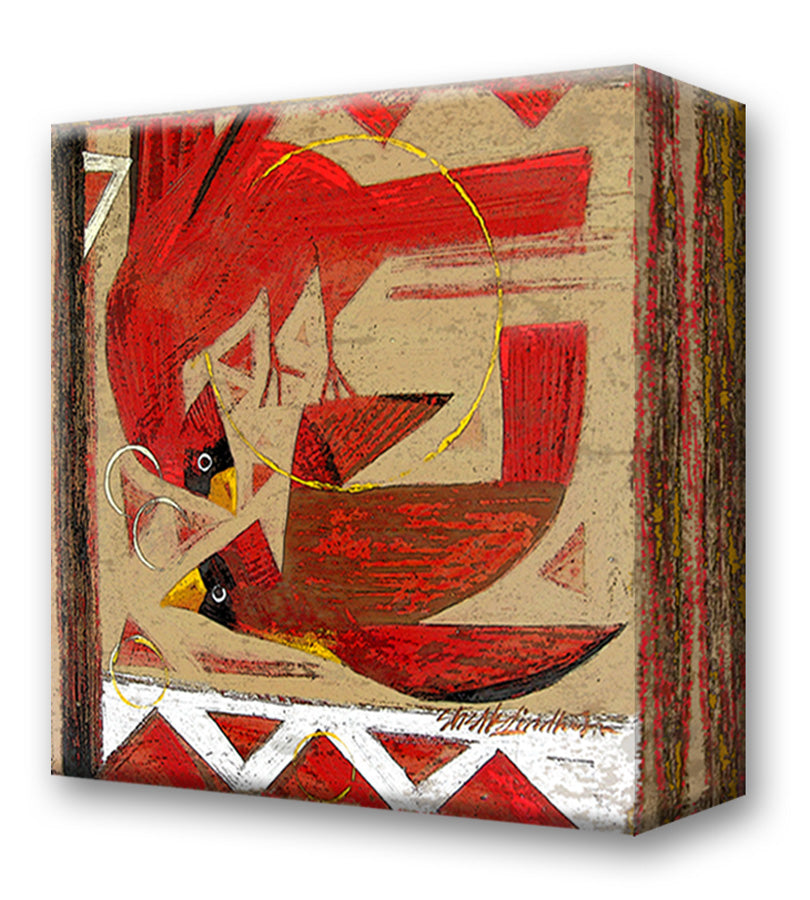 Red Birds:  Metal 18x18 Inches