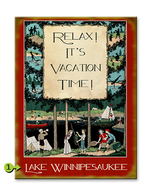"Customizable Vintage Sign ""Relax, It's Vacation Time"""