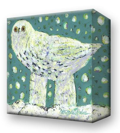 Snow Bird on Green:  Metal 18x18 Inches
