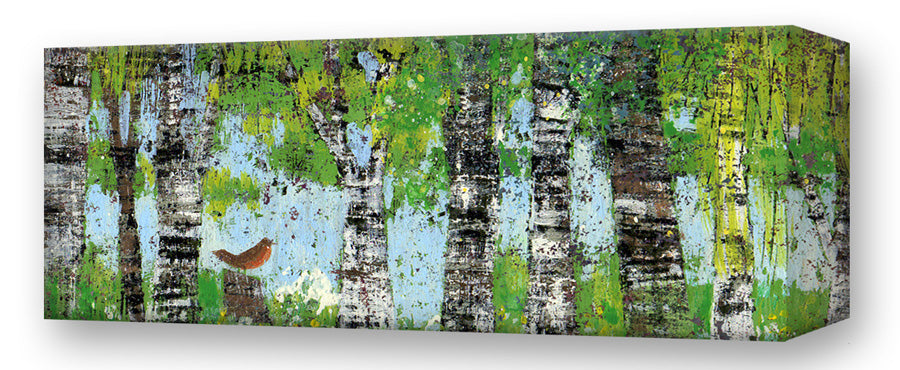 Spring Trees, Robin:  Metal 42x16.5 Inches