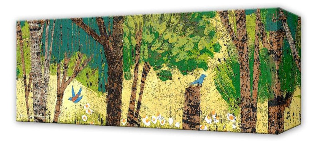 Summer Trees with Blue Birds: Metal 42x16.5 Inches