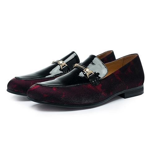 'LAVA' Red Velvet Handmade Loafers