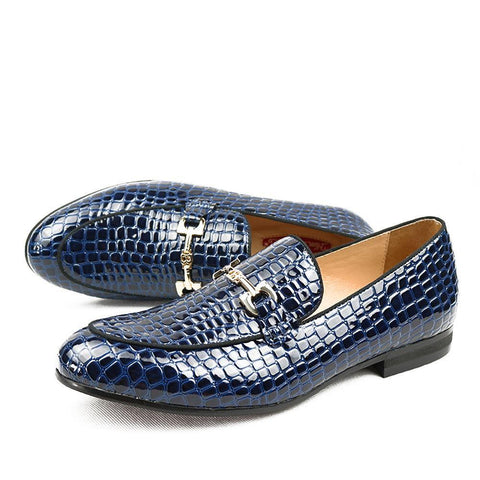 'CROCO' Blue Crocodile Leather Loafers