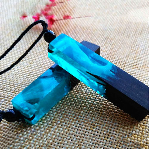 Ultra Blue Wood-Resin Necklace