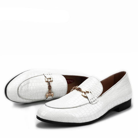 'CROCO' White Crocodile Leather Loafers