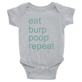 Eat, burp, poop, repeat - gray baby one-piece bodysuit