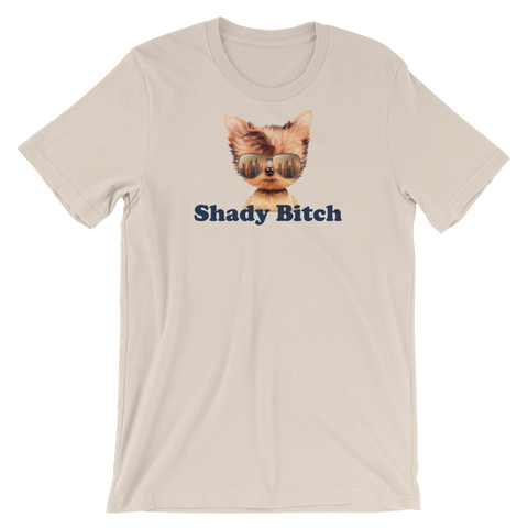 cream T-shirt - shady bitch dog logo